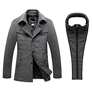 Wantdo Men's Warm Pea Coat Windproof Thick Winter Jacket with Quilted Bib US Large Grey