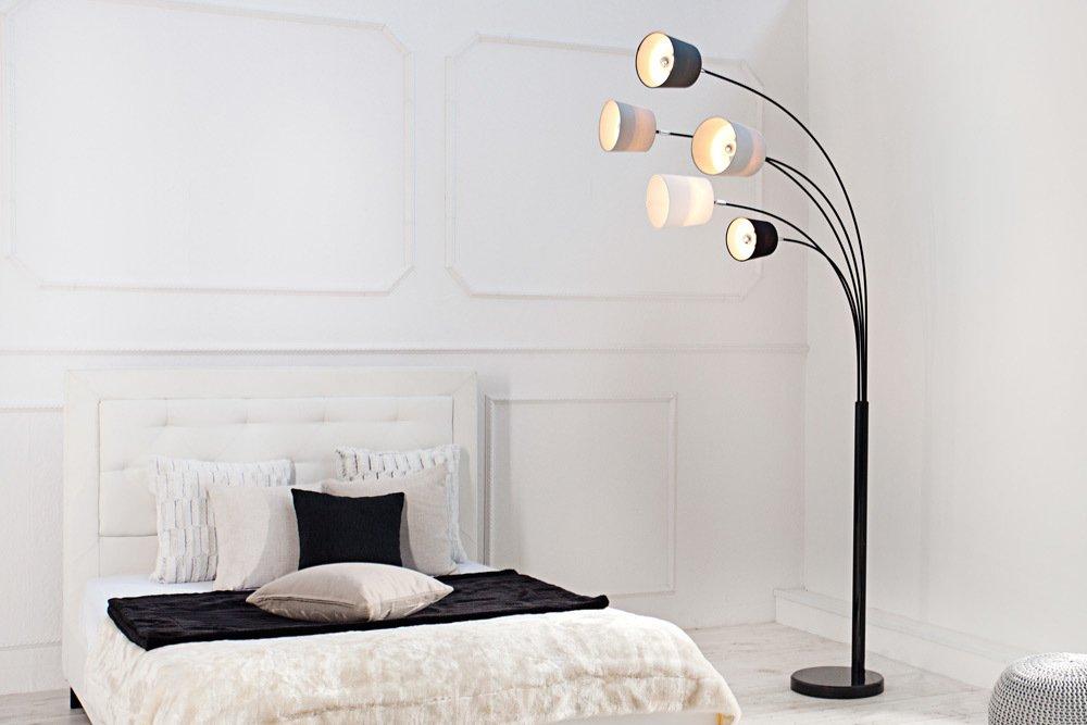 Design Bogenlampe LEVELS Schwarz Glnzend Marmorfuss Stehleuchte Leuchte Lampe Wohnzimmerlampe Amazonde Beleuchtung
