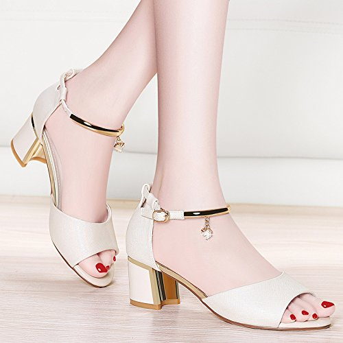 Freschi Estate da Heeled white E High Shoes Con Bocche comodo I Traspiranti 2018 Scarpe donna Piccole Versione HBDLH Coreana Nuove Pesci Sandali Spessi E Twpqn