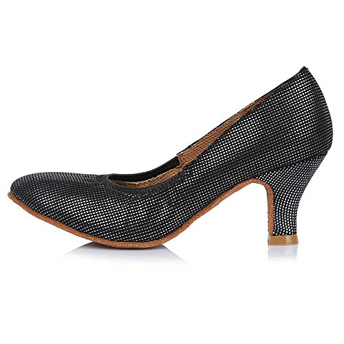 YFF Professional Closed Toe Modern Dance Shoes Leather Ballroom Tango Dance Shoes Salsa Party Latin Dancing Shoes Girls Women ,58mm 30626,9