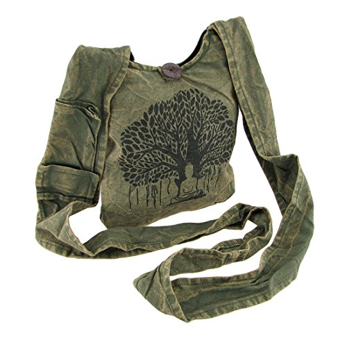 (Tree of Life Meditating Buddha Small Crossbody Bag w/Cell Pocket)