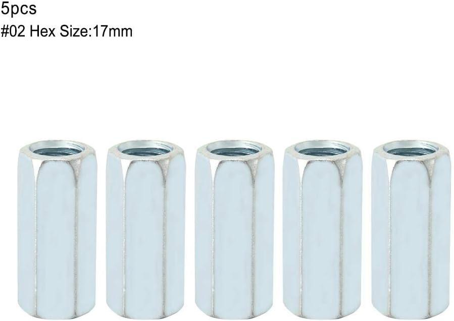 17mm Kopfteil Muttern und Schrauben 40 Lange Stange Kupplungsmutter Stecker 15mm 5 st/ücke M12 15mm