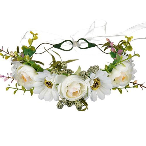 Vivivalue Conch Boho Handmade Flower Wreath Halo Headband Floral Hair Garland Crown Headpiece with Ribbon Festival Wedding Party White
