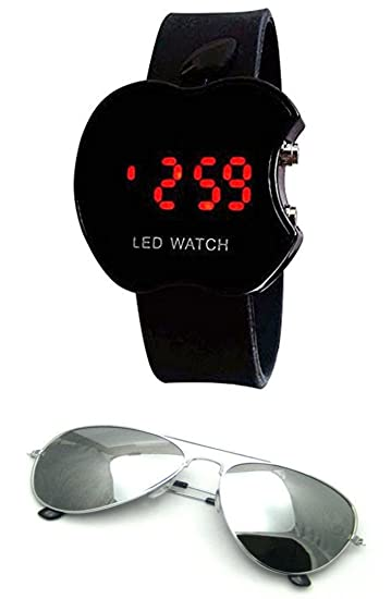 5cea17094cc Sheomy Unisex Combo Pack of Sunglasses for Men and Women and LED Digital  Black Dial Apple Shape Kids Watch Best Online Gifts  Amazon.in  Sports