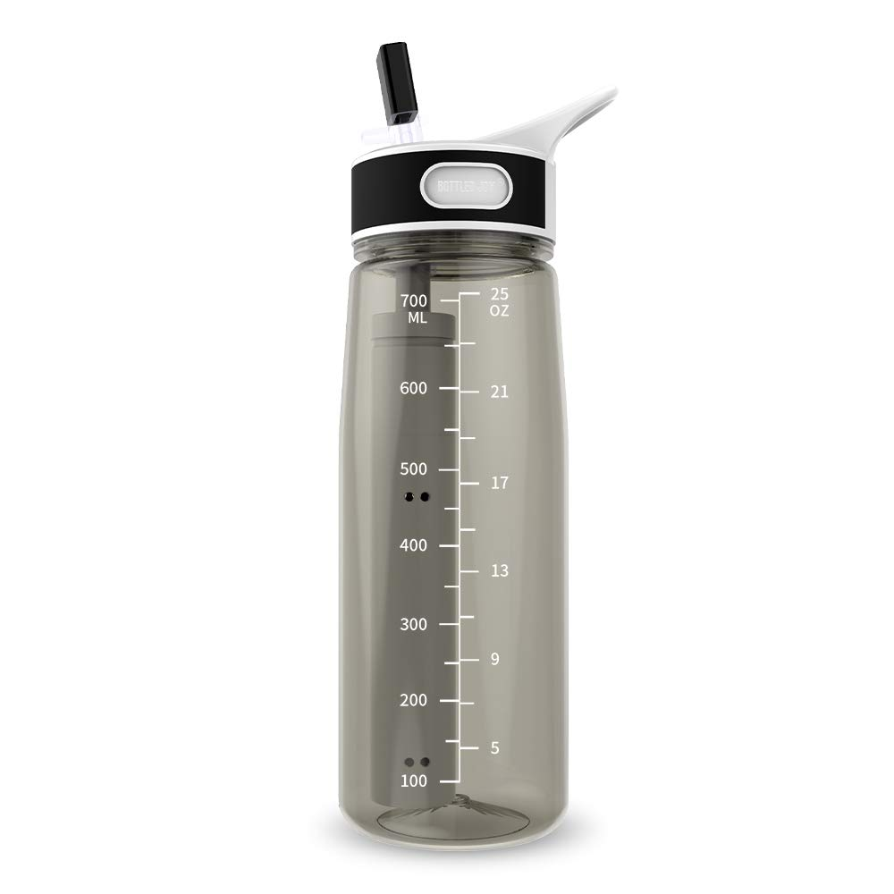 Water Bottle with Filter BOTTLED JOY 25oz BPA Free with Replaceable 2-Stage Water Filter Straw Hollow Fiber Membrane Reusable for Hiking Camping Backpacking Hunting Fishing Emergency Survival