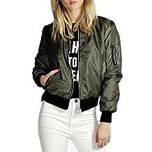 Bomber Jacket Women Zip up Punk Rock Classic Flight Motorcycle Short Biker Coat