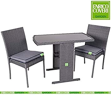 Amazon De Set Gartenmobel Tisch 2 Stuhle Aus Poly Rattan Mit 2