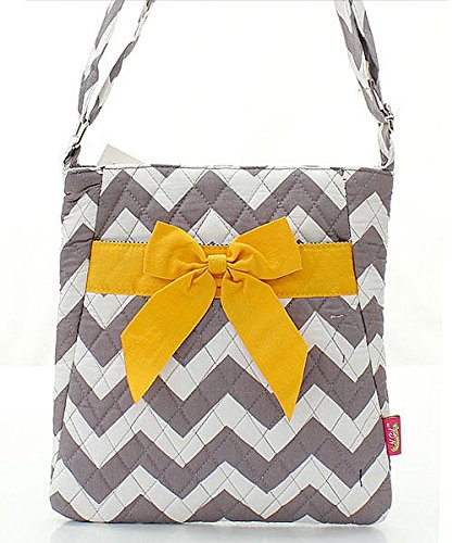 Chevron Stripe Quilted Messenger Hipster Bag with Bow Accent Grey and Yellow