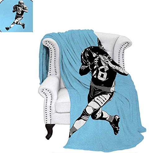 Lightweight Blanket American Football League Game Rugby Player Run Original Retro Illustration Custom Design Cozy Flannel Blanket 60