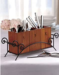 Rustic Wood and Iron Silverware Organizing Caddy - Weddings, Events or Home