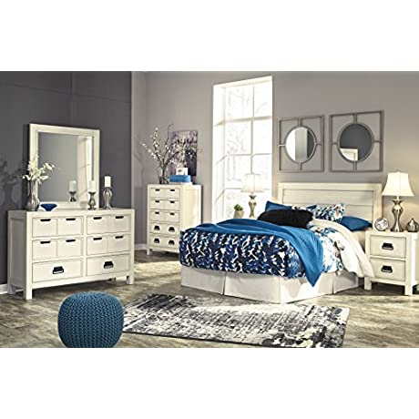 Burlington Contemporary White Color Queen Panel Headboard Dresser Mirror 2 Nightstands