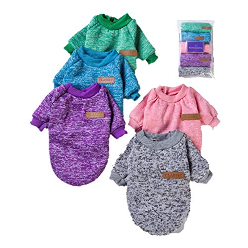 Pawfect Darling 5 Pack Dog Sweaters for Small Dogs and Pets, Girls or Boys, Warm and Pawfect for Winter (x Small)