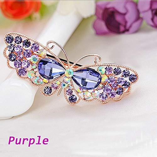 Enameled Butterfly Pin - MOPOLIS Crystal Fashion Women Rhinestone Butterfly Hairpin Hair Clip HeadWear Barrette   color - purple