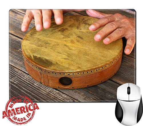 "Luxlady Natural Rubber Mouse Pad/Mat with Stitched Edges 9.8"" x 7.9"" hand in motion of senior man playing ethnic drum IMAGE 24425560 (Djembe Natural)"