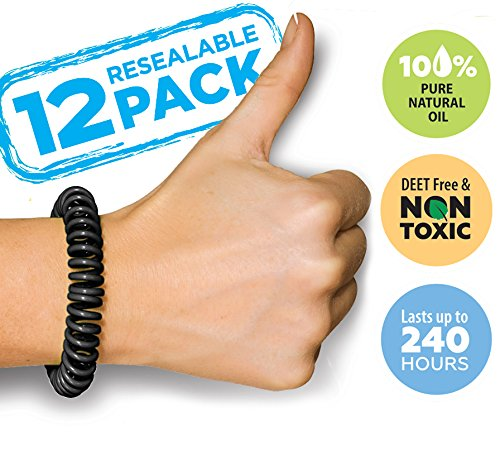 BuzzOff Mosquito Repellent Bracelets Twelve Bands (12) Pack - Deet Free - Guaranteed to Work - Fast, Easy Deters Bugs for Hours - Natural Oil Insect Repellent - Kid Safe Insect Bracelet