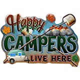 Happy Campers Live Here Novelty Sign | Indoor/Outdoor | Funny Home Décor for Garages, Living Rooms, Bedroom, Offices | SignMission personalized gift Wall Plaque Decoration