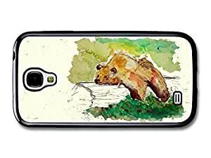 AMAF ? Accessories Bear Resting on a Trunk Tree Wildlife Animal Watercolour Art case for Samsung Galaxy S4