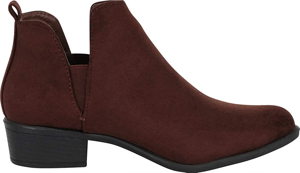 Cambridge Select Womens Western Side V Cutout Chelsea Ankle Bootie