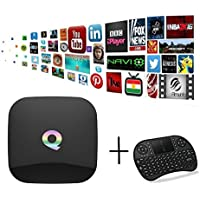 YoungGo Q BOX Android 5.1 OS Smart TV BOX Amlogic S905 Quad Core 2GB DDR3 16GB EMMC Flash,2.4G/5G Dual Wifi,1000M-LAN,Bluetooth 4.0,UHD 3D 4K Set Top Box With Smart Wireless Keyboard
