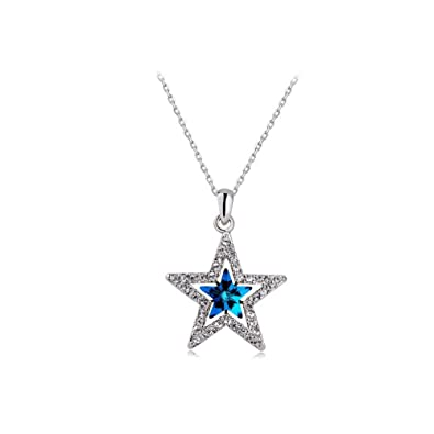 neckslide banner enamel pin diamond red star with blue crystals service pendant swarovski like