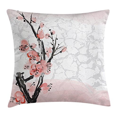 Floral Throw Pillow Cushion Cover by Ambesonne, Japanese Cherry Blossom Sakura Tree Branch Soft Pastel Watercolor Print, Decorative Square Accent Pillow Case, 20 X 20 Inches, Coral Light Pink Grey