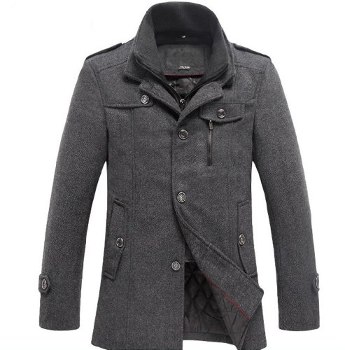 sulandy @ Men's Fashion Winter Warm Soft Wool Blend Pea Coat