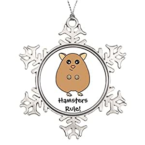 HaroRo Personalized Family Christmas Snowflake Ornaments Badge Wedding Snowflake Ornaments Cute Hamster