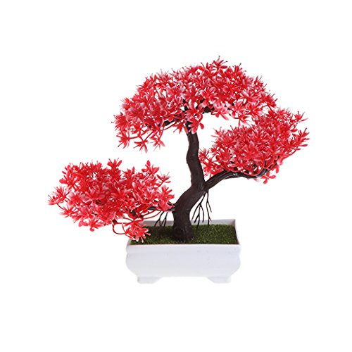 LIYUDL Artificial Pine Bonsai Fake Guest-Greeting Pine Mini Simulation Tree Plants with Pot for Home Weeding Office Decoration and Table Centerpieces (Red)