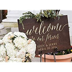 Custom Wooden Welcome Sign for Rustic Weddings: Display Date & Couple Name, Personalized Welcome Wedding Sign, Weathered Oak Stain Wood Sign, Wedding & Reception Decorations