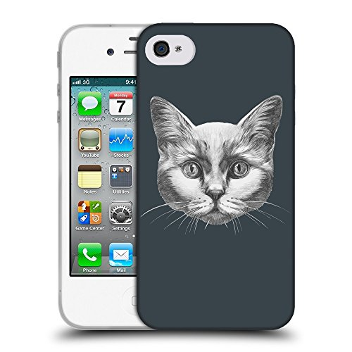 GoGoMobile Coque de Protection TPU Silicone Case pour // Q05110606 Dessin chat Arsenic // Apple iPhone 4 4S 4G