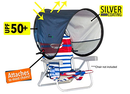 Shadeez Oasis: Portable, Attachable, pop up Sunshade, Canopy. Attaches to Most Chairs. (Navy Blue) ()