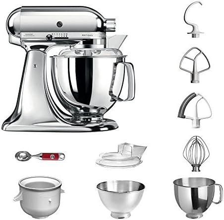 Robot de cocina, de KitchenAid, juego Artisan 5KSM175PS, incluye heladera y cuchara para helado para postres caseros chrom: Amazon.es: Hogar