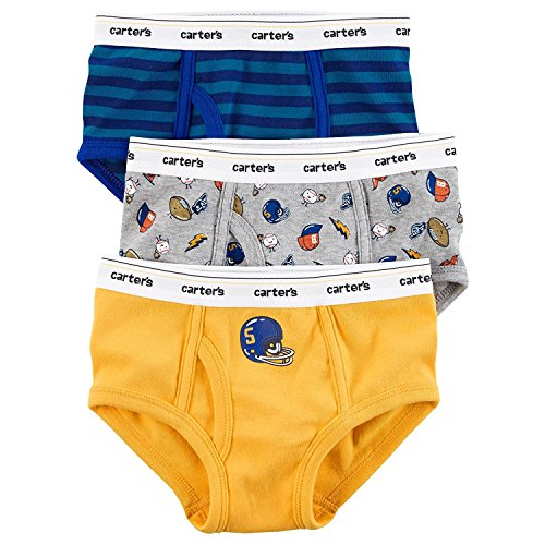 Carter's OshKosh Little Boys' 3 Pack Cotton Briefs (Football (43635512-11-2017)/Baseball/Stripes, (Boys Football Underwear)