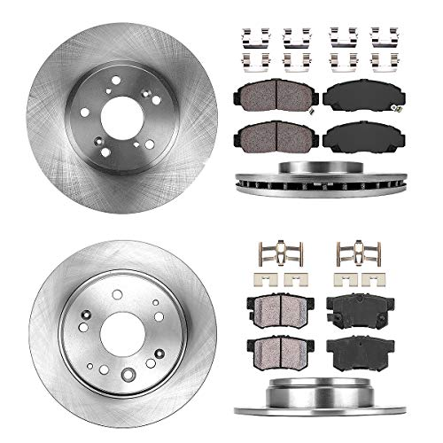 FRONT 300 mm + REAR 282 mm Premium OE 5 Lug [4] Rotors + [8] Quiet Low Dust Ceramic Brake Pads + Clips