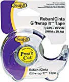 Seal-It 3/4 Inches x 1000 Inches,Gift Wrap It Stationery Tape, Press'N Cut Dispenser