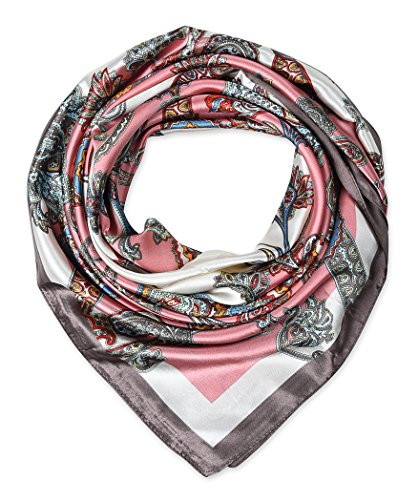 [corciova Womem's Silk Feeling Head Scarf Headband 35x35 inches Paisley Ethnic Floral Candy Pink] (Ethnic Hats)