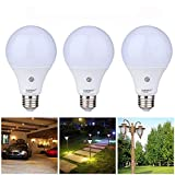 Cheap 3 Pack Dusk to Dawn Light Sensor Bulb, E27 7W Lamp Post, Sensor Security Bulb Fence Post Light Outdoor with Photosensor Detection Indoor Lighting Lamp for Porch Hallway Patio Garage Cool White 6000K