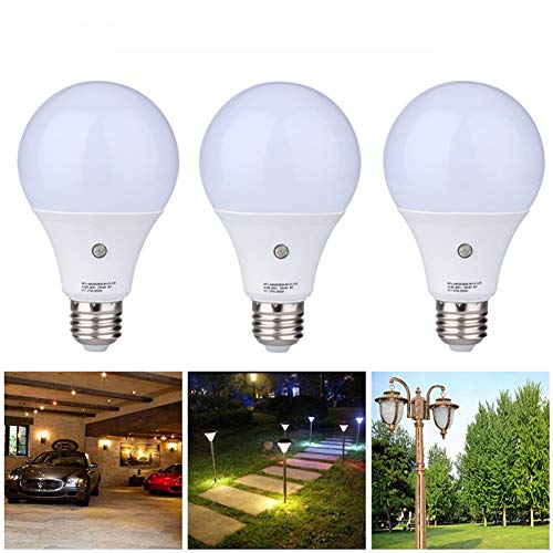 3 Pack Dusk to Dawn Light Sensor Bulb, E27 7W Lamp Post, Sensor Security Bulb Fence Post Light Outdoor with Photosensor Detection Indoor Lighting Lamp for Porch Hallway Patio Garage Cool White 6000K