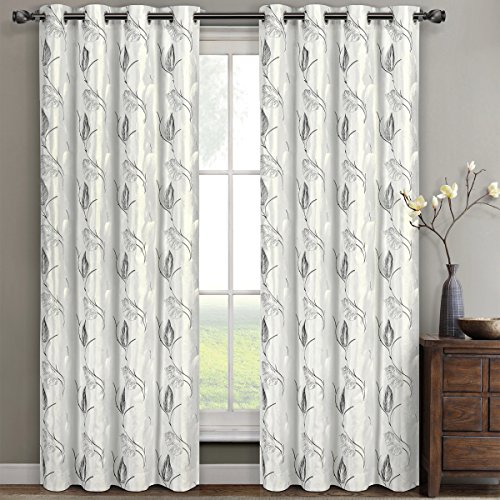 Pair of Two Embroidered Lined Top Gromment Curtain Panels, Rich Embroidery Floral Pattern, Elegant and Contemporary Olivia Panels, White, Set of Two 52 by 63 Panels 104 by 63 Pair