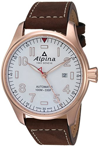 Alpina Men's 'Startimer' Swiss Automatic Stainless Steel and Leather Casual Watch, Color:Brown (Model: AL-525S4S4)