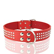 Large Size Dog Collar Drilling Of Three Water Bling Big Dog Collars Rhinestones XL 5 Colors (XL, Red)