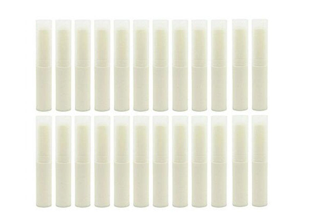 24PCS 4g Rotating Type Plastic Empty Makeup DIY Lip Gross Balm Tube with Cap Lipstick Container BPA + BPS Free Beige