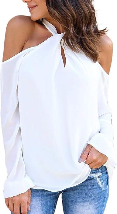 QIYUN.Z Camiseta de Moda para Mujer Halter sólido con Hombros ...