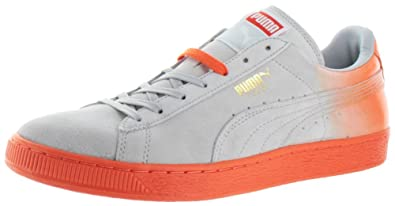 huge selection of dfe78 43d3f Puma Suede Classic+ Blur Mens White/Orange Sneakers