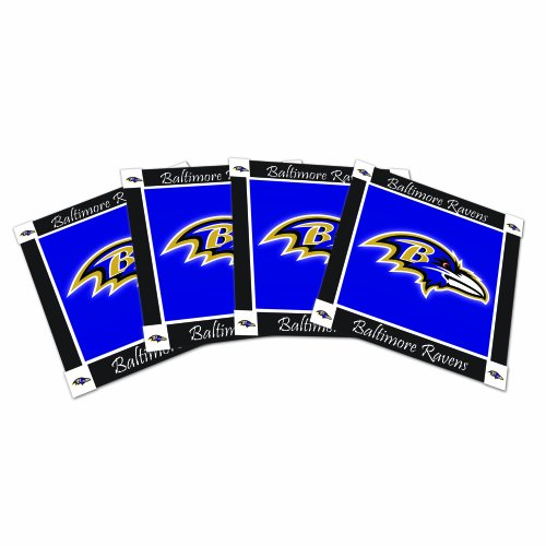 NFL Baltimore Ravens Ceramic Coasters-Pack of 4, Purple