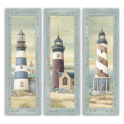 (Set of 3 Lighthouse Art Prints Beach Country Coastal Décor- Three 6x18 Wood Mounted Prints )