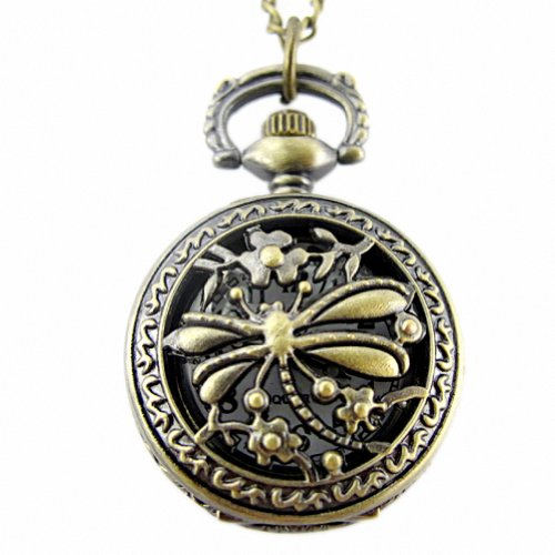YouYouPifa Retro Bronze Dragonfly And Flower Pattern Carved Hollow Small Pocket Watch