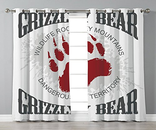 Rocky Mountain Cabin Decor - Stylish Window Curtains,Cabin Decor,Grunge Grizzly Bear Footprint Emblem Dangerous Wildlife Rocky Mountains Decorative,Grey Red White,2 Panel Set Window Drapes,for Living Room Bedroom Kitchen Cafe