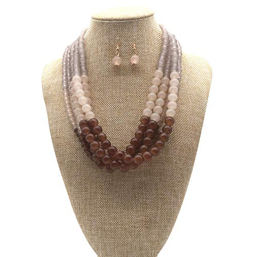 (JHWZAIY 5 Layers Stone Beads Statement Beaded Layered Strands Necklace Earrings Set (Brown) )