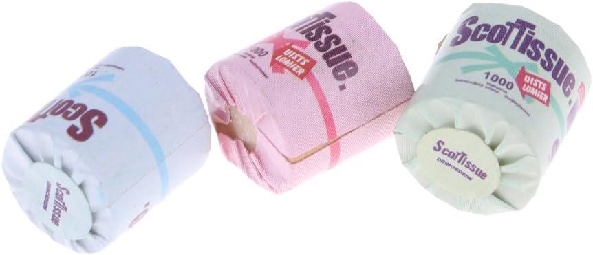3Pcs Roll of bathroom tissue toilet paper 1:12 dollhouse miniature toyI Hx
